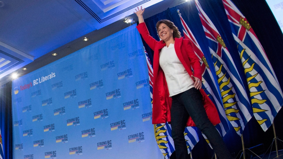 B.C. Liberal leader Christy Clark in Vancouver, B.C., on May 10, 2017. (Jonathan Hayward / THE CANADIAN PRESS)