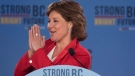 B.C. Liberal leader Christy Clark acknowledges the crowd following the B.C. Liberal election in Vancouver, B.C., Wednesday, May 10, 2017. THE CANADIAN PRESS/Jonathan Hayward