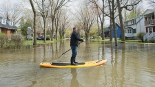 Flooded street in Vaudreuil-Dorion, Quebec
