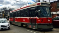 A TTC streetcar is pictured along Dundas Street in this file photo. (Amara McLaughlin/CP24)