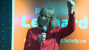 Ronna-Rae Leonard, NDP candidate for Courtenay-Comox, claims victory following a nail-biting finish that saw her win the riding by only nine votes. May 9, 2017. (CTV Vancouver Island)
