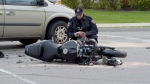 The rider was thrown from his motorcycle approximately 30-feet from the accident, Hamilton police said. (Andrew Collins)