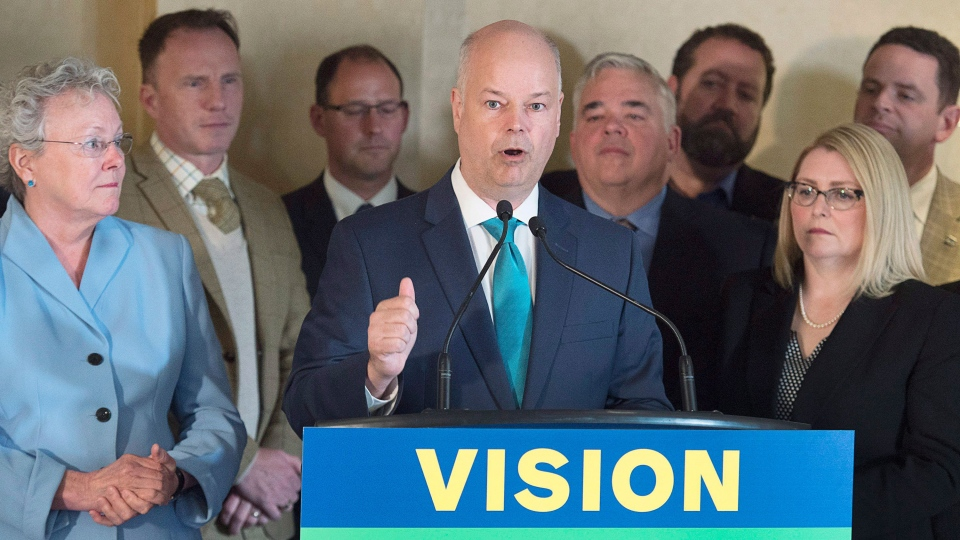 Nova Scotia Progressive Conservative leader Jamie Baillie, accompanied by a group of candidates, releases his party platform as he campaigns in Halifax on Thursday, May 11, 2017. The provincial election will be held Tuesday, May 30. (THE CANADIAN PRESS/Andrew Vaughan)