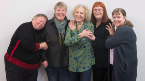 Joice Guspie, (left to right) Darlene Lawson, Billie Stone, Lynn Zimmer and Martha Ireland, original founders of Toronto's Interval House, an emergency shelter for women in abusive situations, are pictured on Monday, February 6, 2017. (THE CANADIAN PRESS / Chris Young)