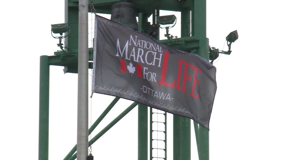 A flag celebrating an anti-abortion march was flown outside Ottawa City Hall on Thursday, May 11, 2017 before it was taken down.