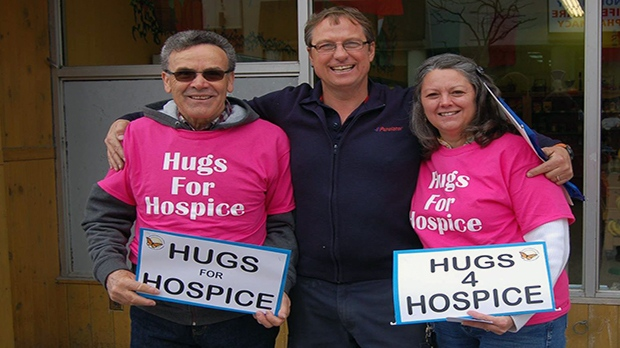 Volunteers said the community was reception to their offer of free hugs.