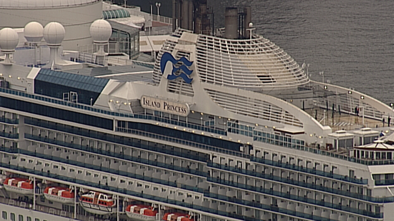A police search delayed the departure of a Princess Cruise vessel in downtown Vancouver for two hours on May 10, 2017. (CTV/Chopper 9)