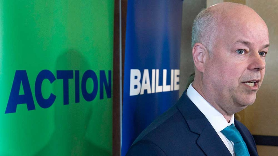 Nova Scotia Progressive Conservative leader Jamie Baillie talks with reporters after releasing his party platform during a campaign stop in Halifax on Thursday, May 11, 2017. (THE CANADIAN PRESS/Andrew Vaughan)