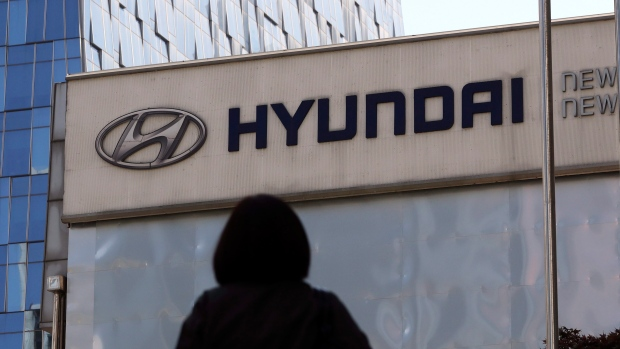 The logo of the Hyundai Motor Co. is displayed at the automaker's showroom in Seoul, South Korea on April 26, 2017. (AP / Lee Jin-man)