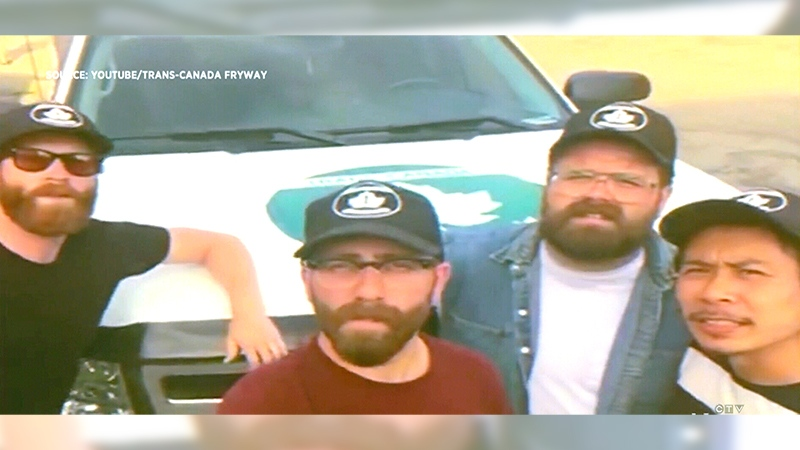 Patrick  Lo, Chris Solomon, Zachary Muir-Vavrina and Paul Parolin set out to travel the Trans-Canada Highway one fry stand at a time. (Trans-Canada Fryway/Youtube)