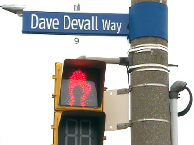 Scarborough has recognized Dave Devall with a temporary sign at CTV headquarters.
