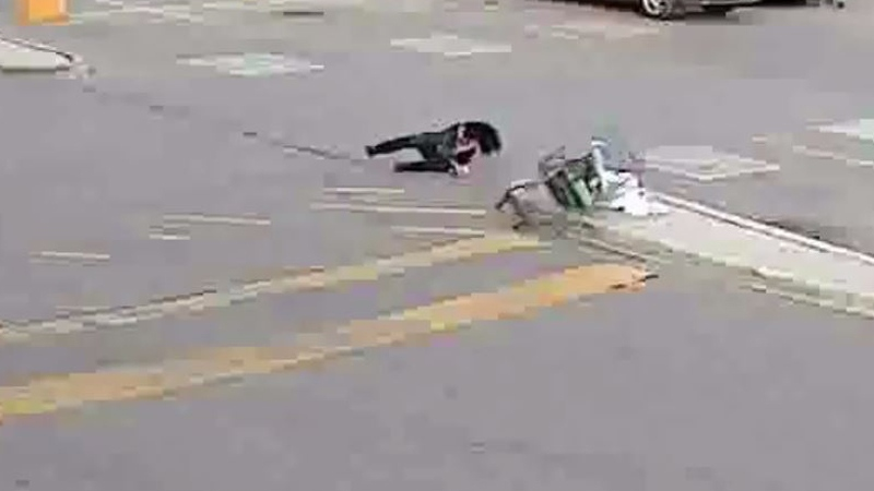 Shoplifter on ground