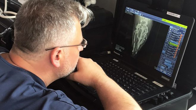 Dr. Marty Haulena reviewing the x-rays showing the two shots to his face. Source Vancouver Aquarium
