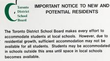 tdsb, leslieville, sign, school shortage