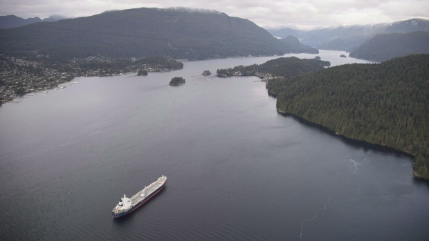 Oil tanker in Burrard Inlet, B.C.