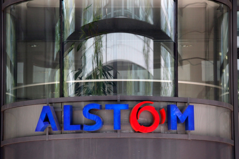 This Wednesday, April 30, 2014 file photo shows the company logo of Alstom at the headquarters of the leading global maker of high-speed trains, power plants and grids, in Levallois-Perret, outside Paris, France. (THE CANADIAN PRESS / AP / Christophe Ena)