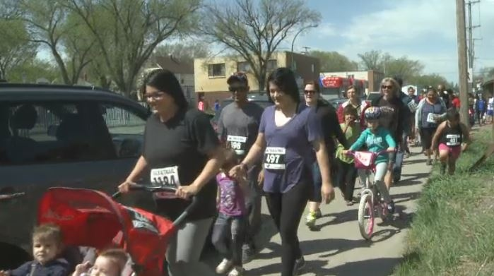 Around 150 people race in the Ivan Amichand Memorial Walk and Run in North Central Regina on May 13, 2017
