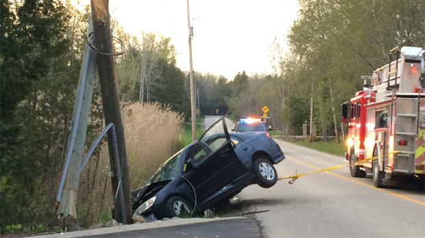 A car hit a hydro pole head-on in Puslinch. (May 13, 2017)