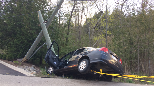 Three people were taken to hospital after their car crashed into pole. (May 13, 2017)