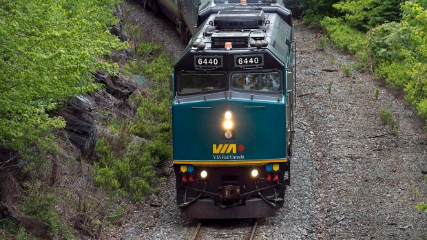 A Via Rail train moves through Halifax on Tuesday, June 4, 2013. (THE CANADIAN PRESS/Andrew Vaughan)