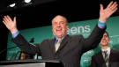 B.C. Green party leader Andrew Weaver speaks to supporters at election headquarters at the Delta Ocean Pointe on election night in Victoria, B.C., on Wednesday, May 10, 2017. (Chad Hipolito / THE CANADIAN PRESS)