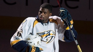 Nashville Predators' P.K. Subban salutes the crowd as he is introduced prior to facing the Montreal Canadiens in NHL hockey action, in Montreal on Thursday, March 2, 2017. (THE CANADIAN PRESS/Paul Chiasson)
