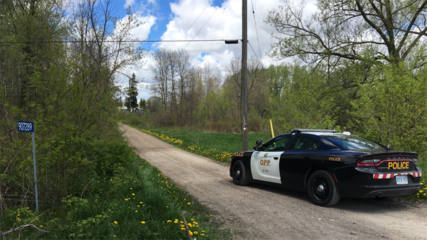 Oxford County OPP at the scene of a fatal plane crash near Plattsville. (May 14, 2017)