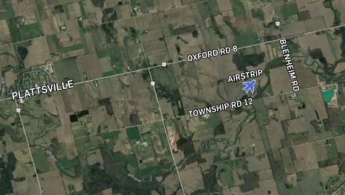 Map of the area where plane crashed near Plattsville.