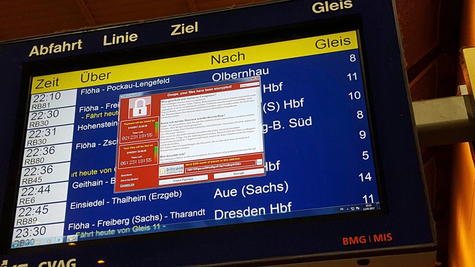 In this May 12, 2017 photo, a display panel with an error can be seen at the main railway station in Chemnitz, Germany. Germany. (P. Goezelt/dpa via AP)