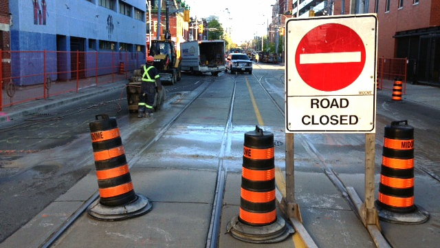 City crews work to replace TTC streetcar tracks at the intersection of Dundas and Parliament in this file image.