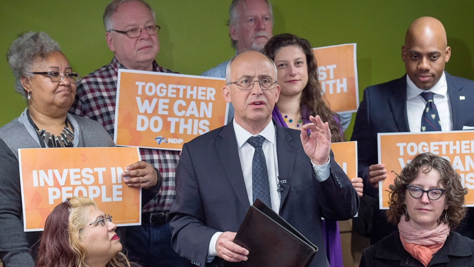 Nova Scotia NDP leader Gary Burrill releases his party platform as he campaigns in Halifax on Monday, May 15, 2017. The provincial election will be held Tuesday, May 30. (THE CANADIAN PRESS/Andrew Vaughan)