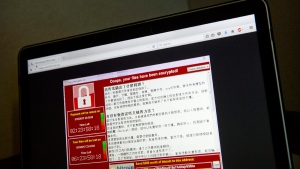 A screenshot of the 'WannaCry' warning screen