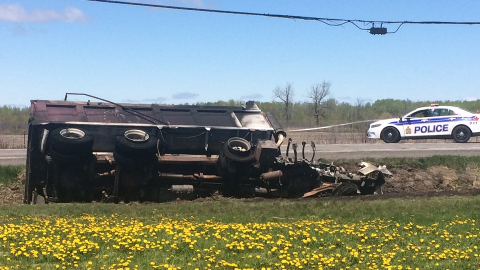 59 year-old driver of the truck involved in a head-on collision on Mitch Owens Rd. was rushed to hospital in stable condition on Monday, May 17, 2017. (CTV Ottawa)