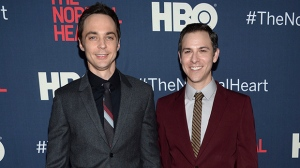 "FILE - In this May 12, 2014, file photo, Jim Parsons, left, and Todd Spiewak arrive at the NY Premiere of ""The Normal Heart"" in New York. (Photo by Evan Agostini/Invision/AP, File)"