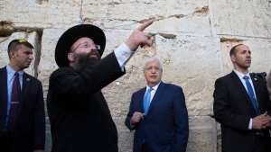 U.S. Ambassador to Israel David Friedman, center, visits the Western Wall, the holiest site where Jews can pray in Jerusalem's Old City, Monday, May 15, 2017. (Sebastian Scheiner/AP Photo)