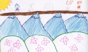 Weather art by Destiny, age 11, from Maple Green Elementary.