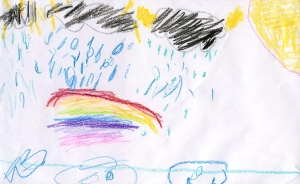 Weather art by Margret, age 9, from Old Yale Road Elementary School.