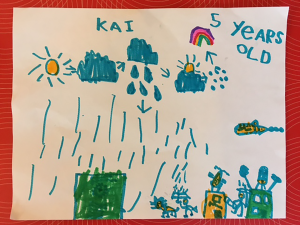 Weather art by Kai, age 5.