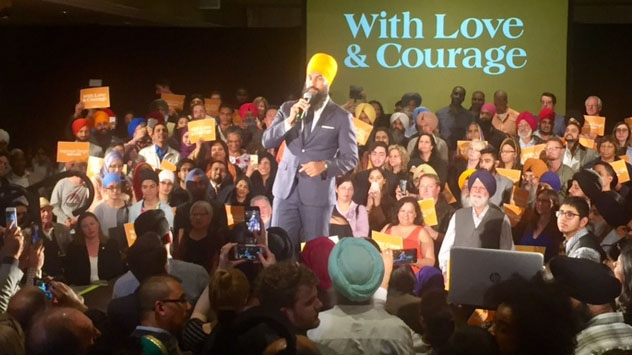 """The values that guide me today, and will continue to guide me as leader, are the progressive, social democratic values rooted in my experiences growing up,"" Jagmeet Singh said. (Cristina Tegnalia/CP24)"