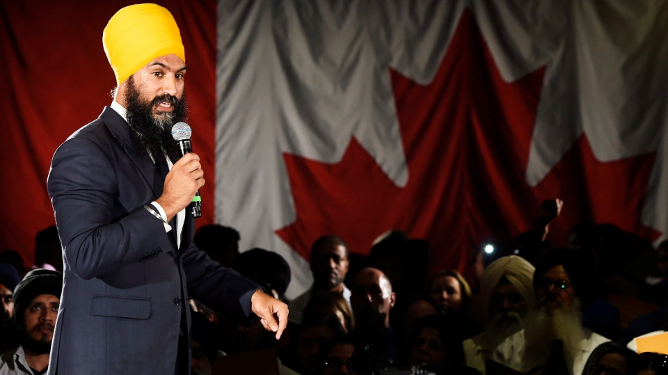 Ontario deputy NDP leader Jagmeet Singh launches his bid for the federal NDP leadership in Brampton, Ont., on Monday, May 15, 2017. (Nathan Denette/The Canadian Press)