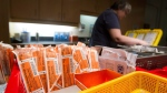 Supplies to be used by drug addicts fill baskets as nurse Arvita Cotter prepares for a shift at the Insite safe injection clinic in Vancouver, B.C., on Monday April 18, 2011. (THE CANADIAN PRESS/Darryl Dyck)