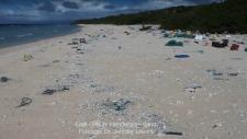 Trash pollutes remote beach