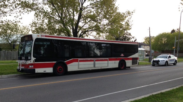 Police say one person is in custody after a TTC bus was stolen Tuesday morning. (Cam Woolley/ CP24)