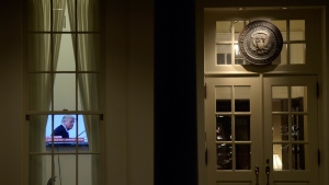 TV set on in the West Wing of the White House