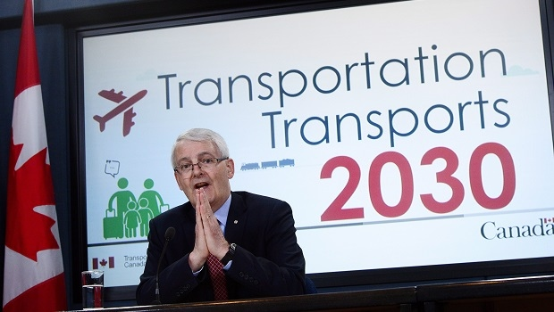 Transport Minister Marc Garneau speaks at the National Press Theatre in Ottawa on Tuesday, May 16, 2017. Garneau has introduced legislation to create a new passenger bill of rights, which will give travellers a better idea of when airlines will have to compensate them. (THE CANADIAN PRESS/Sean Kilpatrick)