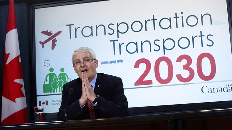 Transport Minister Marc Garneau speaks at the National Press Theatre in Ottawa on Tuesday, May 16, 2017.(THE CANADIAN PRESS/Sean Kilpatrick)