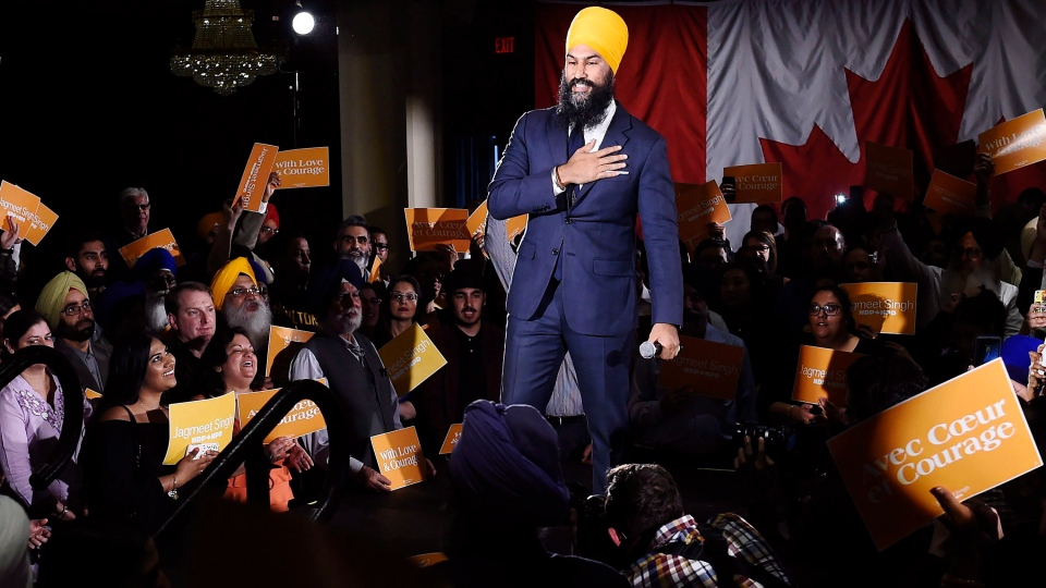 Jagmeet Singh launches his bid for the federal NDP leadership in Brampton, Ont., on Monday, May 15, 2017. (Nathan Denette / The Canadian Press)