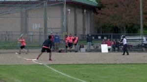 People play baseball at Waterloo Park on Tuesday, May 16, 2017.