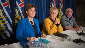 British Columbia Premier Christy Clark, left, sits with caucus chair Jackie Tegart, centre, and caucus whip Eric Foster during a caucus meeting with Liberal MLAs at a hotel in Vancouver, B.C., on Tuesday May 16, 2017. THE CANADIAN PRESS/Darryl Dyck