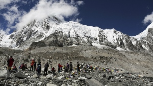 Trekkers rest at Everest Base Camp, Nepal on Sept. 27, 2015. (AP / Tashi Sherpa)